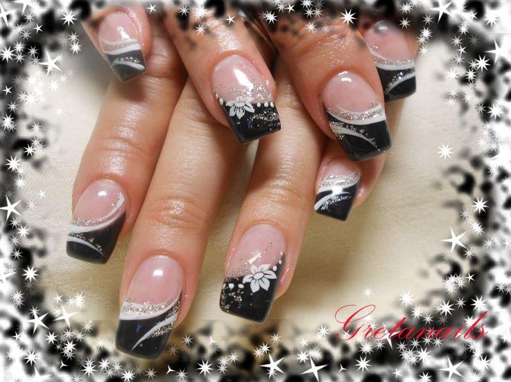 Cute Seasonal Black Tips Nail Art Design From CoolNailsArt