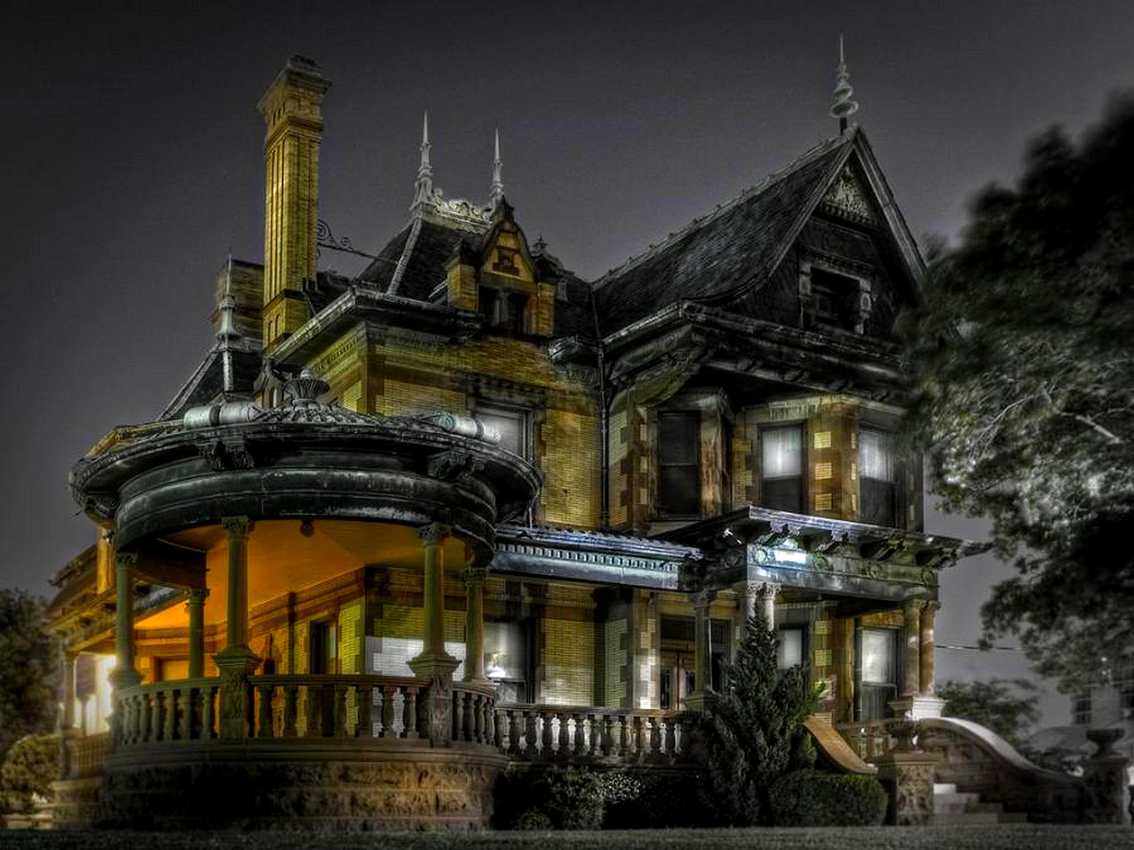 Spirits, Eerie, House, Lights, Night, Scary, Spooky, Victorian