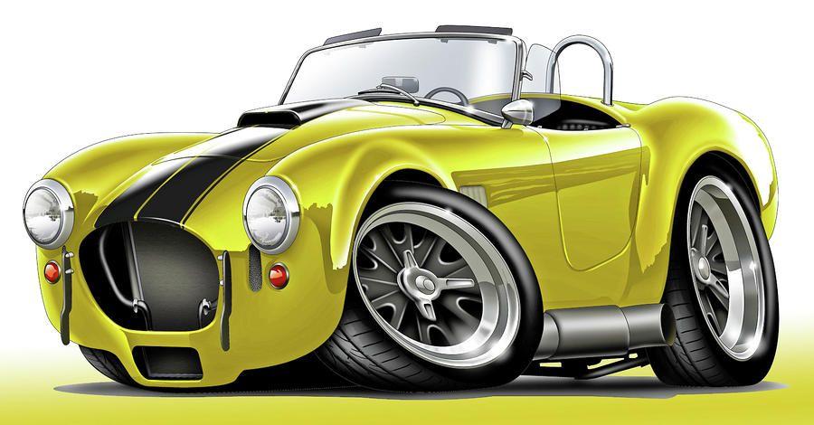 Shelby Cobra Yellow-Black Car Digital Art by Maddmax - Shelby Cobra ...