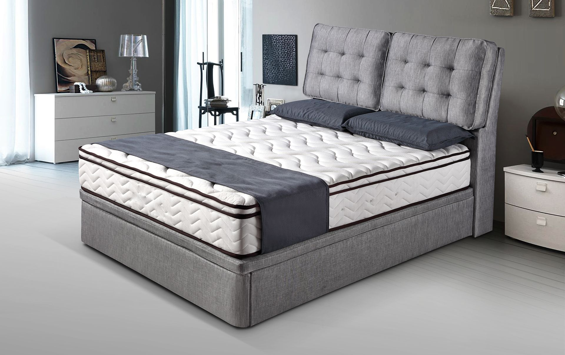 c9f6158d0100 Different design of hydraulic storage bed frames with beautiful foam  headboard.