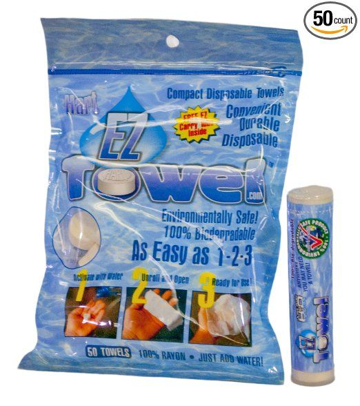 Amazon.com: EZ Towel with New Durable Tube and Packaging, 50 Pieces: Sports & Outdoors