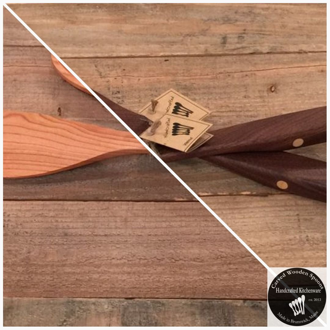 Wooden Kitchen Spoon and Spatula Set Handmade In Maine With Inlay Accented Handles USA