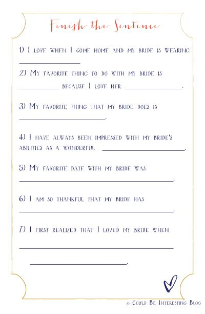 Bachelorette Game Printable Finish His Sentence // Could Be ...