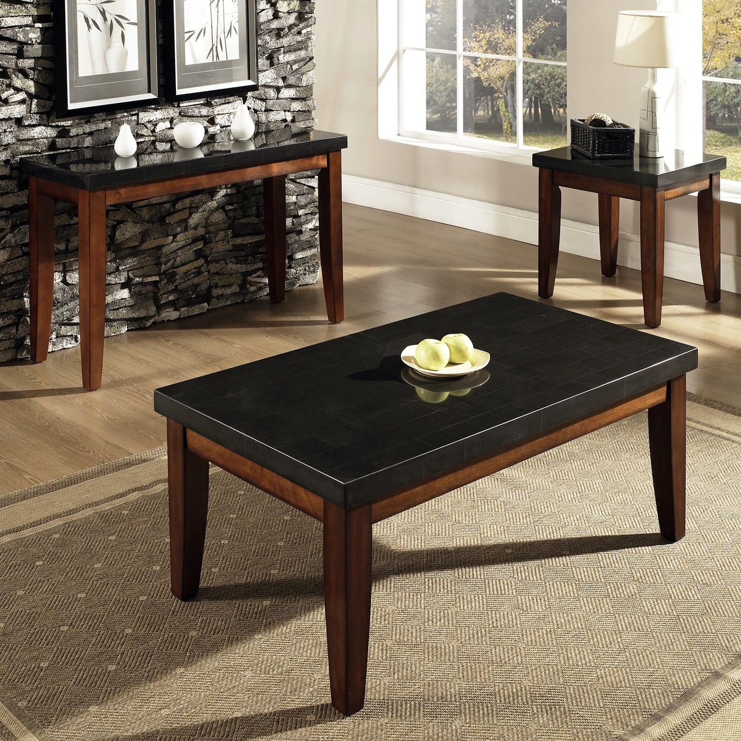 Black Granite Top Coffee Table