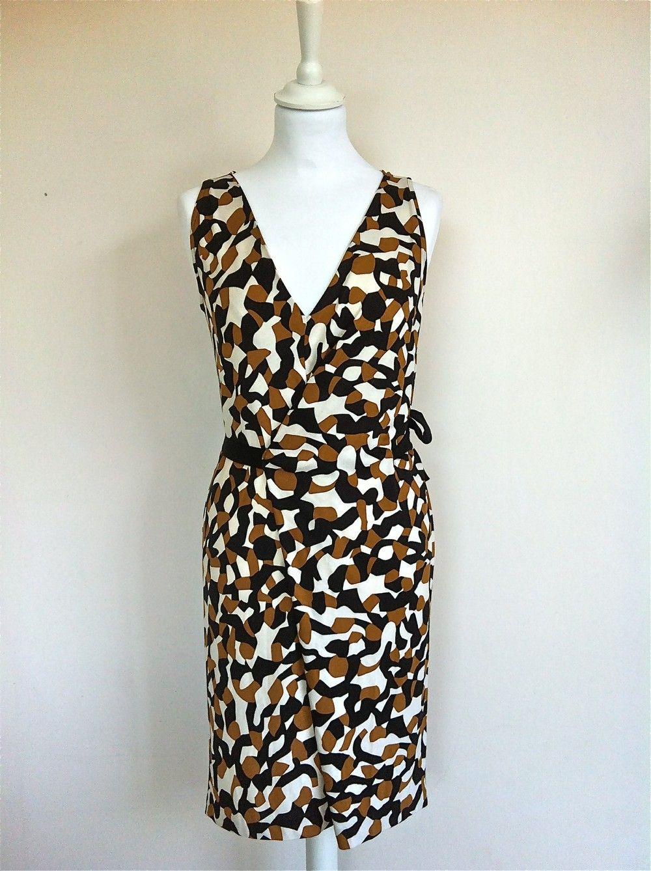 Diane Von Furstenberg Cream, Black, Beige Silk Dress Size 36 via The Queen Bee. Click on the image to see more!