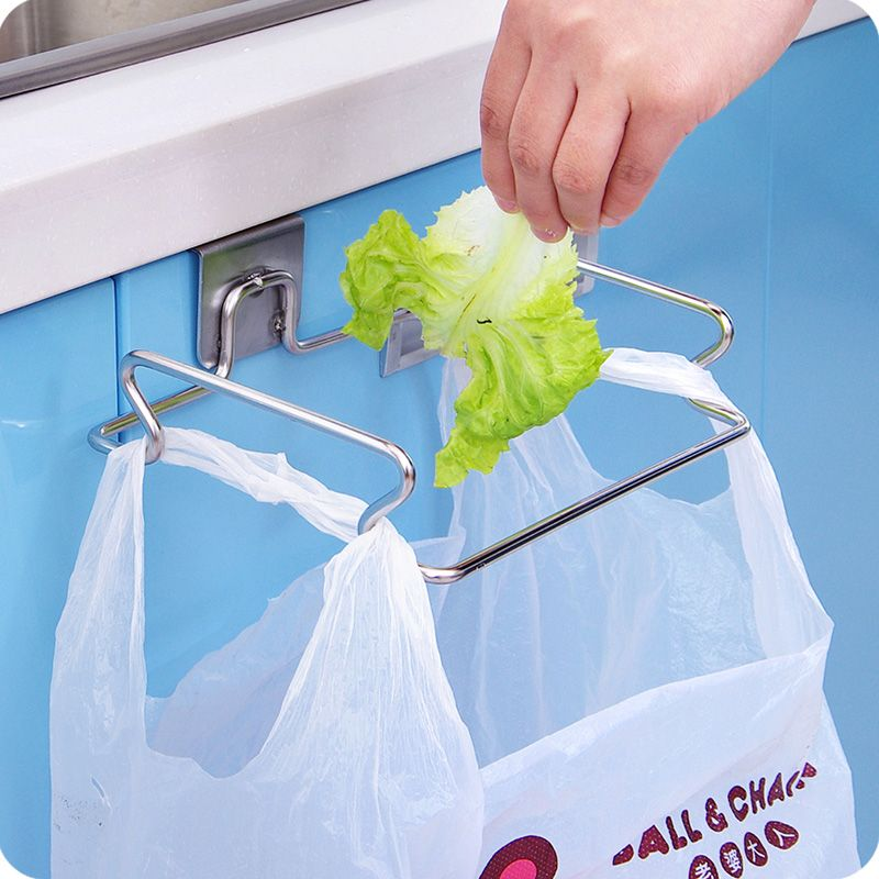 Vanzlife Creative Back Door Stainless Steel Trash Bag Shelf Storage Hook  Multifunctional Kitchen Cabinet Door Hanging