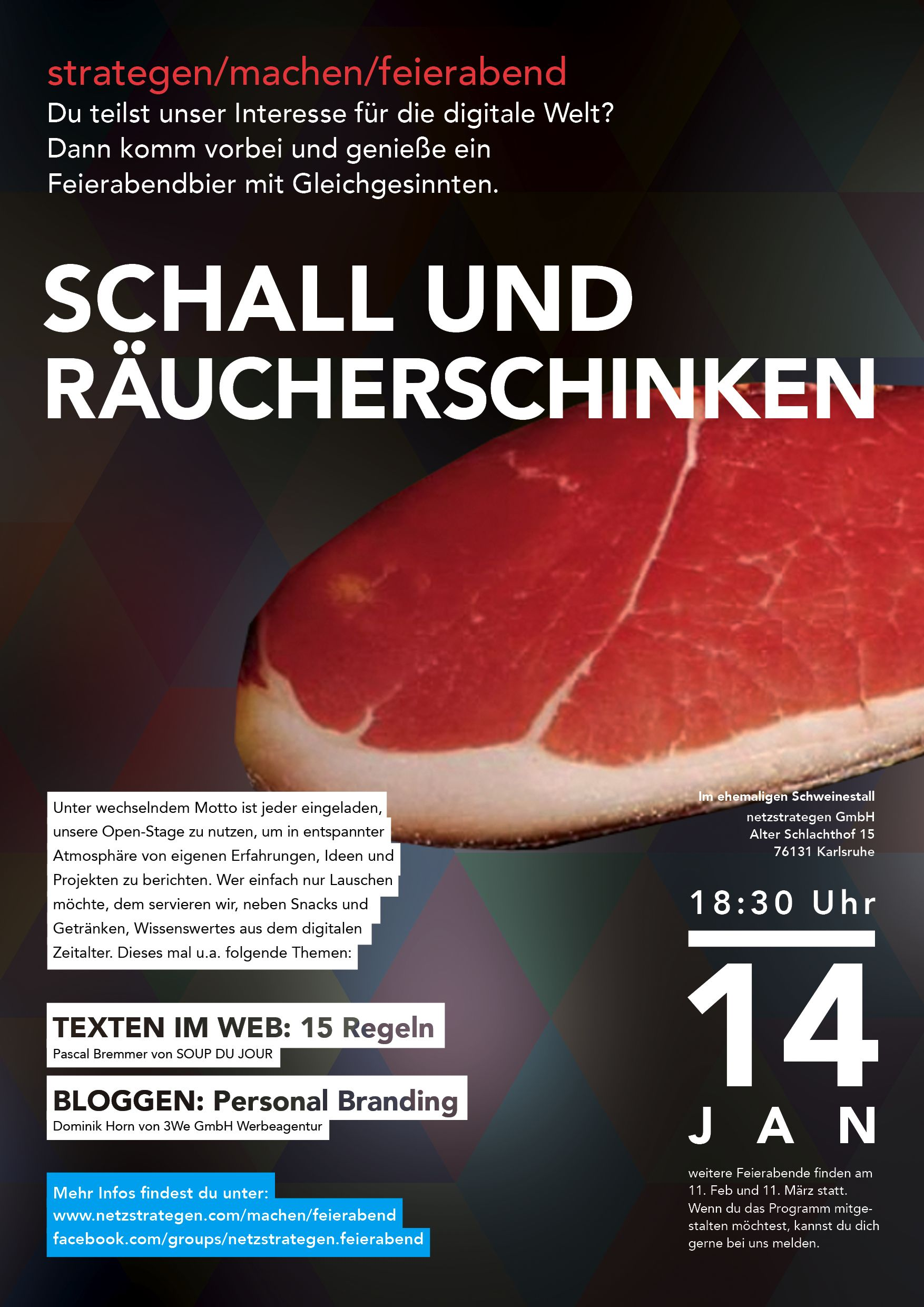 """Schall und Räucherschinken"" - Am 14. Januar 2014 bei uns netzstrategen. Veranstaltungshinweis: https://www.facebook.com/events/508003922631353/"