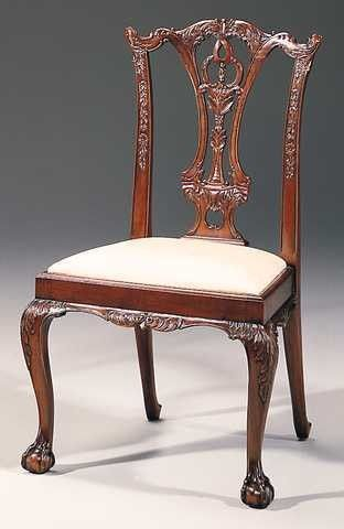 Crosskeys Antiques Carved Mahogany Chippendale Style Side