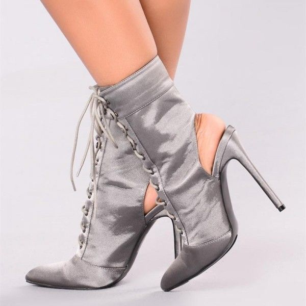 Womens Pointed Toe Lace Up High Heels Ankle Boots Winter Elegant Shoes