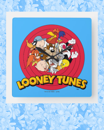 Looney Tunes Character Logo Square Wall Clock Zazzle Com Looney Tunes Characters Looney Baby Looney Tunes