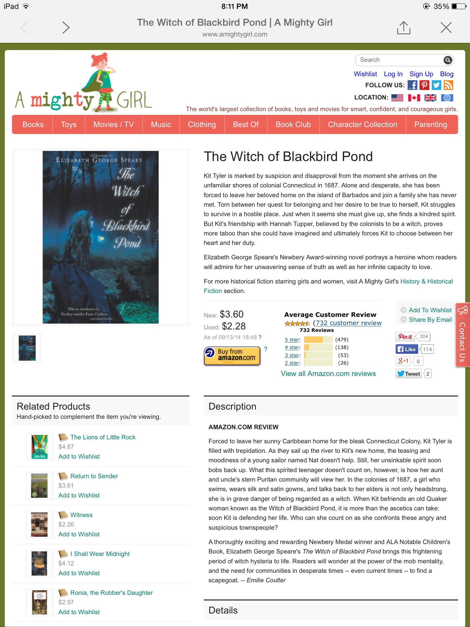 Book The Witch Of Blackbird Pond