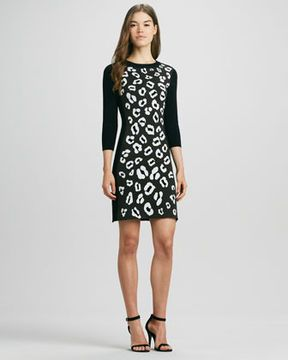 58bf03a68313 Phoebe Couture Animal-Print Raglan-Sleeve Knit Dress | Black and ...