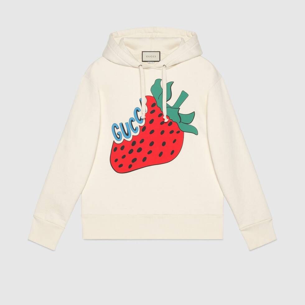 Shop The Sweatshirt With Gucci Strawberry Print At Gucci Com Enjoy Free Shipping And Complimentary Gift Wrappin Sweatshirts Gucci Hoodie Mens Designer Hoodies [ 980 x 980 Pixel ]