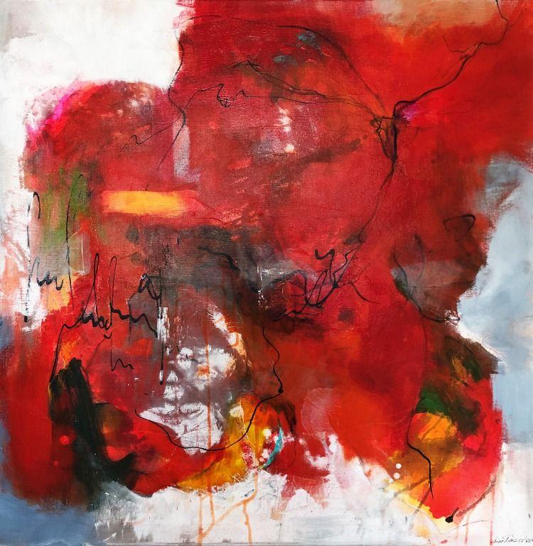 einfach machen acryl auf leinwand 80x80 abstrakt rot orange art modern abstraktekunst acrylart abstrakte malerei kunst 100x70 canvas