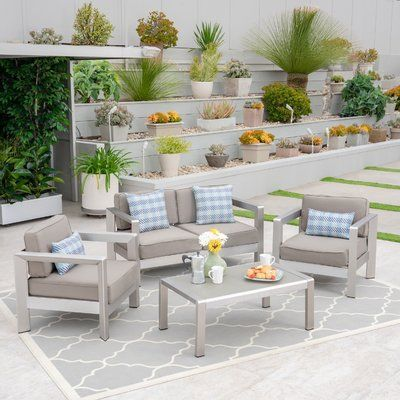 Wrought Studio Herbst 4 Piece Sofa Seating Group With Cushions