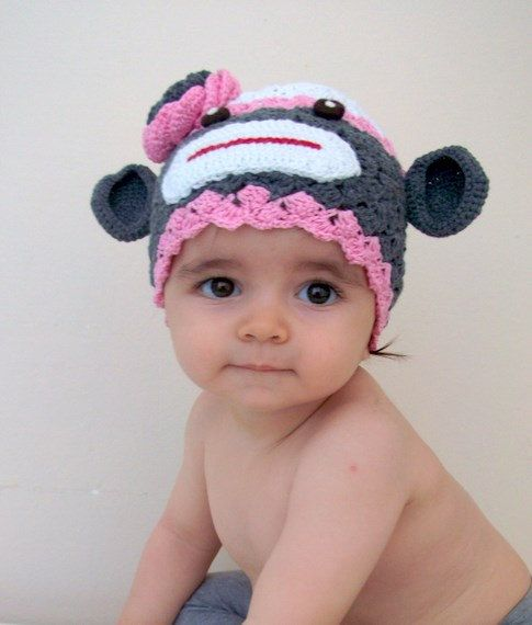 Cotton Sock Monkey Hat -crochet Baby Hat - for Baby or Toddler-Baby ...