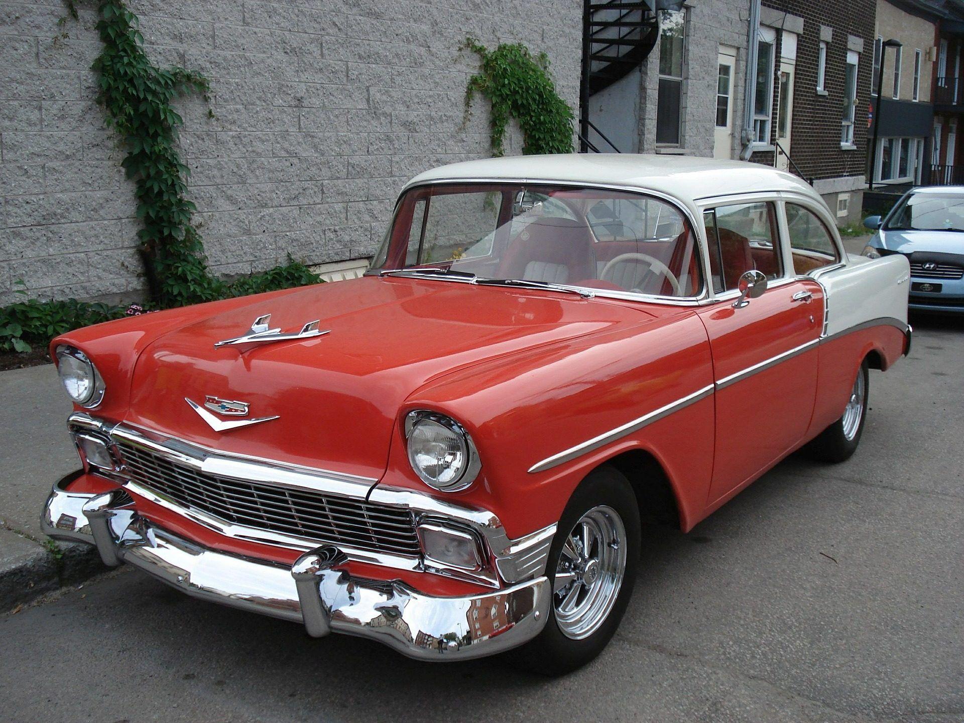 Coche, Antiguo, Vintage, Chevy, Bel Air, Brillo, Rojo