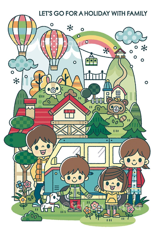 ファミリーレジャー 家族向け イベントポスター イラストレーション