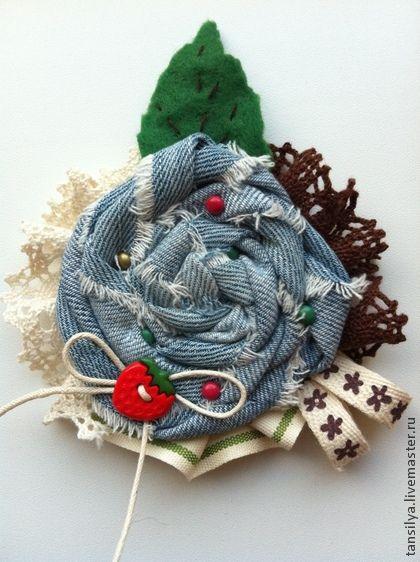 Текстильная брошка - голубой,брошь,брошь ручной работы,брошь-цветок,подарок на 8 марта