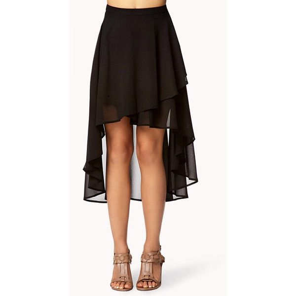 7937597906dc FOREVER 21 Tiered High-Low Skirt ($12) ❤ liked on Polyvore featuring skirts,  bottoms, legs, black, short front long back skirt, hi low skirt, tiered  skirt, ...