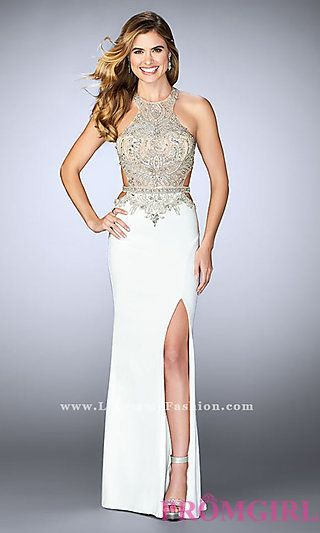Beaded Sheer Bodice Long Prom Dress at PromGirl.com | PROM 2k17 ...