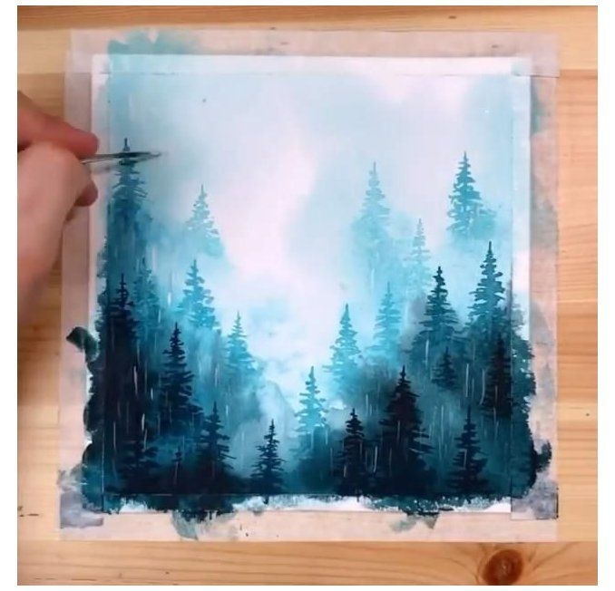 minimalist drawing doodle watercolor painting