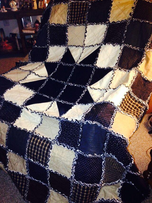 Starry rag quilt...Dad's shirt is the star   MK Quilts   Pinterest ... : quilt dad - Adamdwight.com