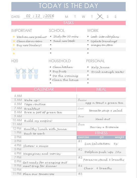 Druckbarer Tagesplaner  Printable Daily Planner  Made By