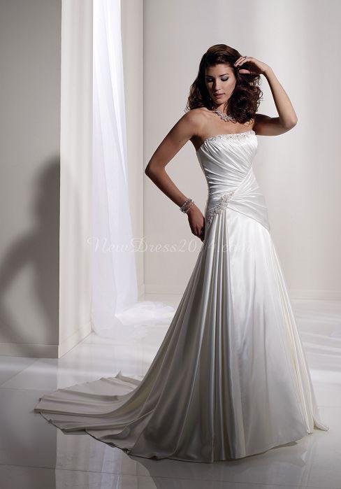A-line Crystals Fantastic Strapless Court Train Elastic Silk Like Satin Wedding Dress