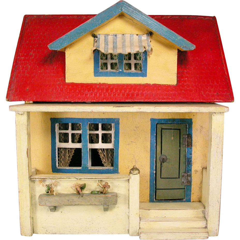 Bliss Dollhouse Wallpaper: Antique Gottschalk Red Roof Dollhouse Bungalow 1928 3/4