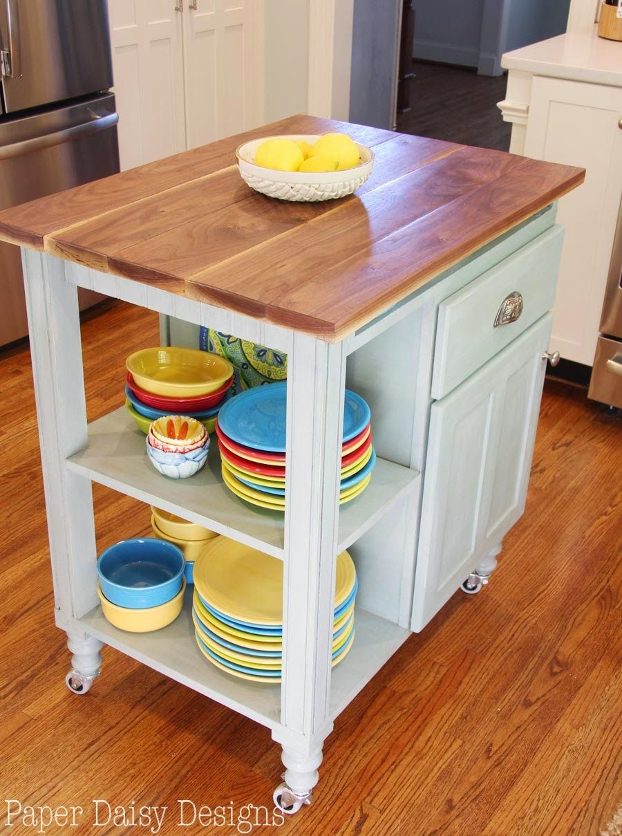 DIY Kitchen Island Cart. Nice Size For Our Kitchen. Shelves For Cookbooks!