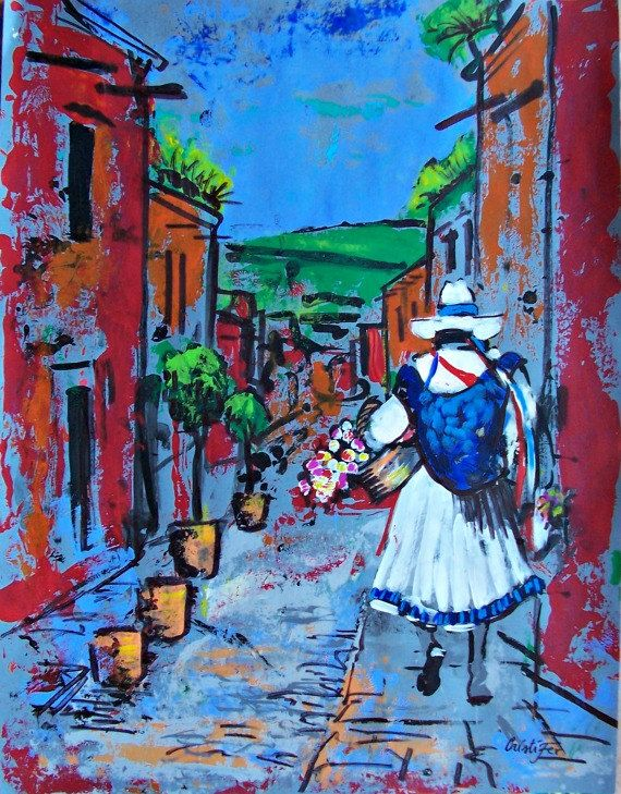 Original painting art of street vendor in Mexico by MyMexicanArt, $97.00