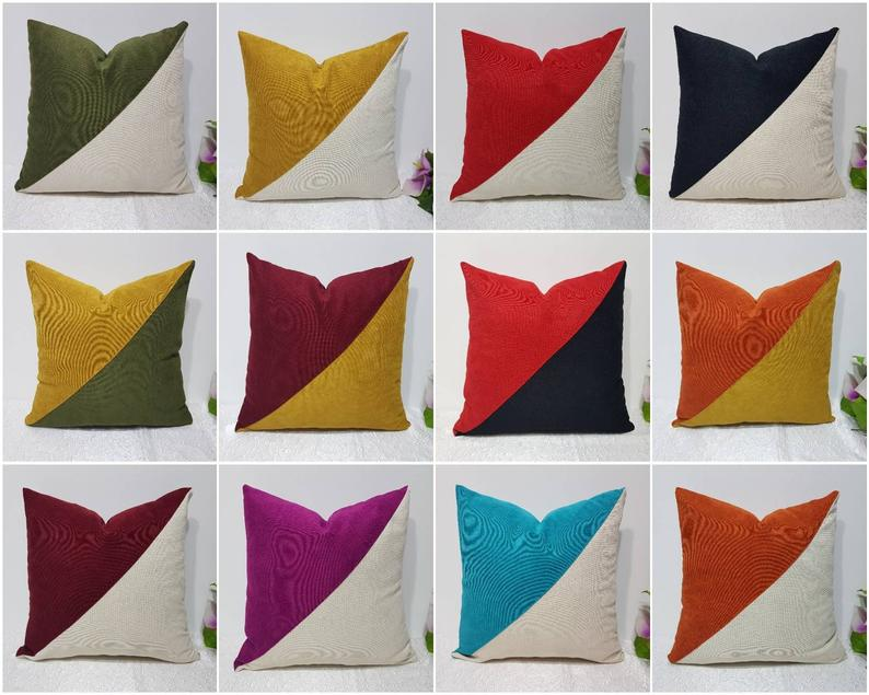 Modern Colorful Outdoor Pillows Color Block Sofa Pillow Throw Cushion Covers Green Mustard Yellow Pink Kissenbezuk 50x50 60x60 20x20 In 2020 Colorful Pillows Throw Cushion Covers Colorful Decorative Pillow
