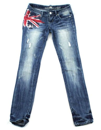 Almost Famous Union Jack Jeans – Juniors 1 www.TheConsignmentBag.com We Ship Worldwide!  Shop and Save...New items arrive Daily!