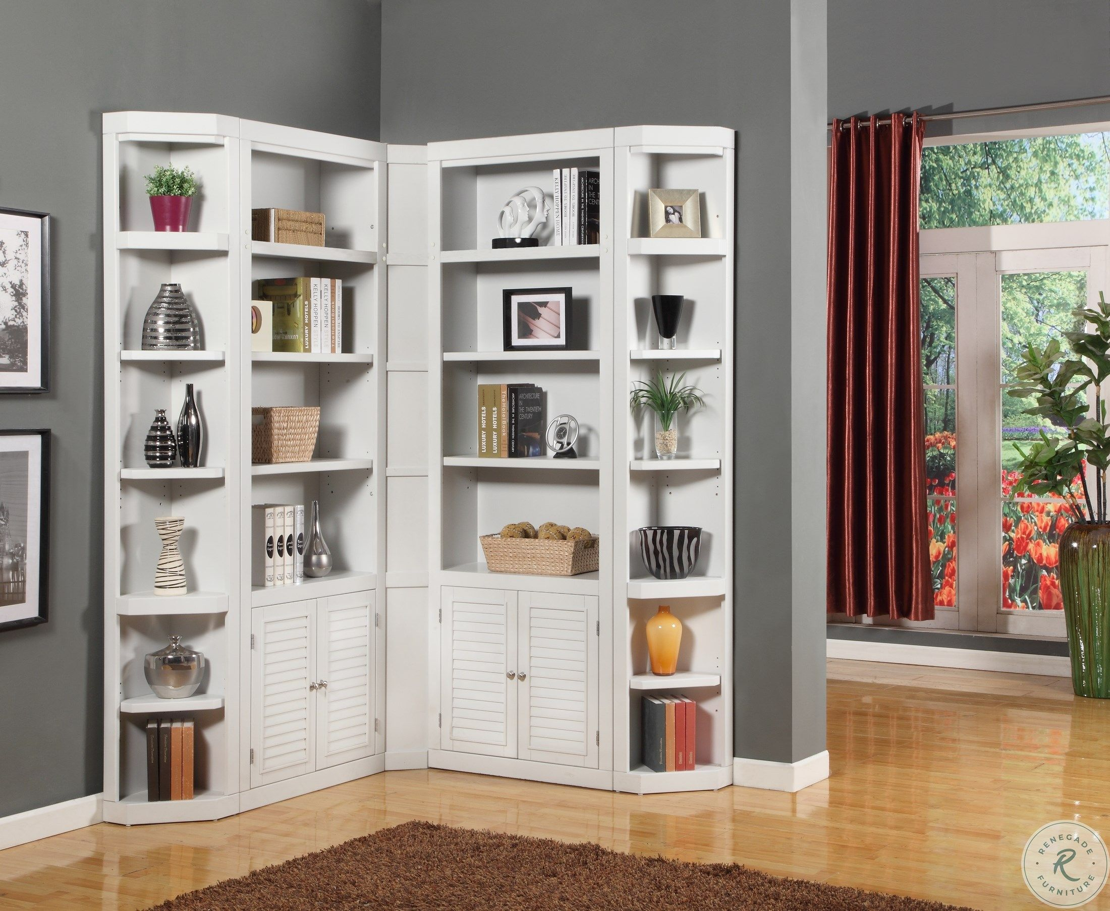 Boca L Shape Bookcase Wall In 2021 Corner Cabinet Living Room Living Room Corner Bookcase Design Corner cabinets for living rooms