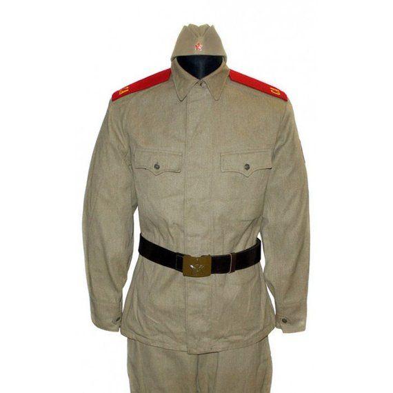 b88a3f06dd7 USSR army Soviet Soldier military khaki uniform M65 with shoulderboards