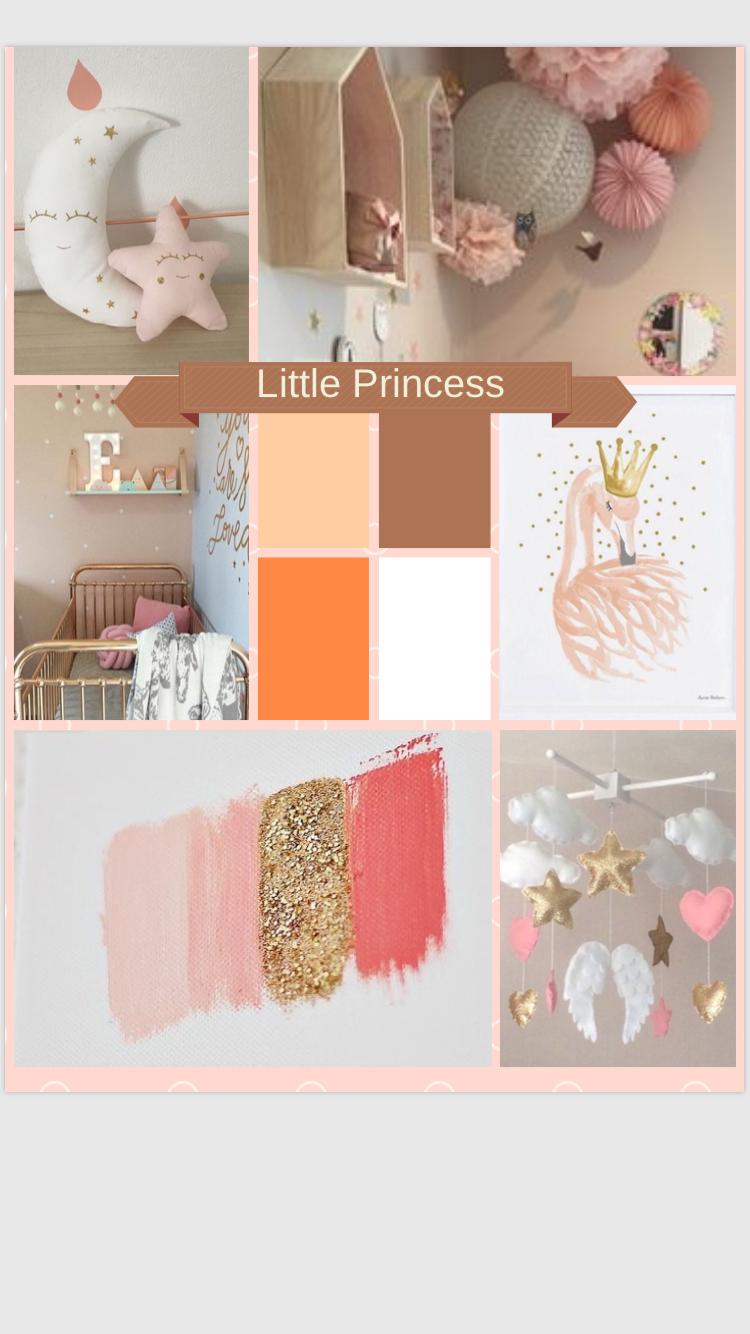 Planche tendances, idées deco chambre fille rose/ corail /dorée