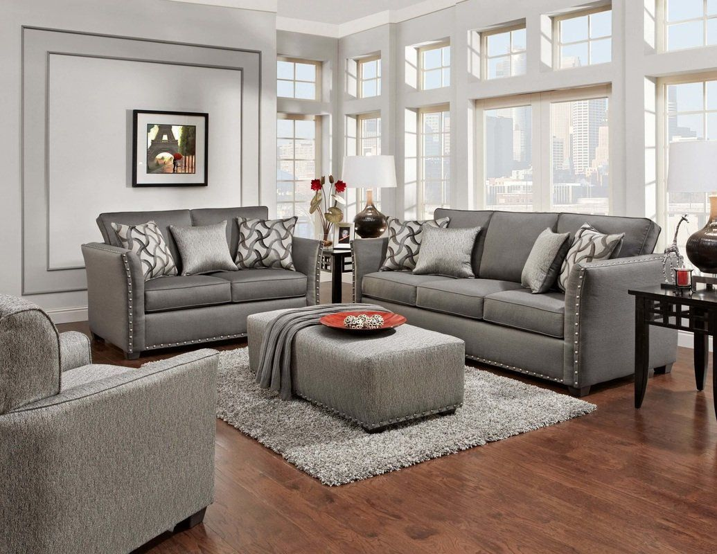 Grey Living Room Set With Nailheads