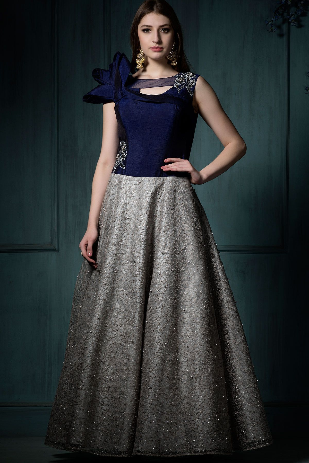 Buy Blue & Silver Applique Embroidered Silk Evening Gown Online ...