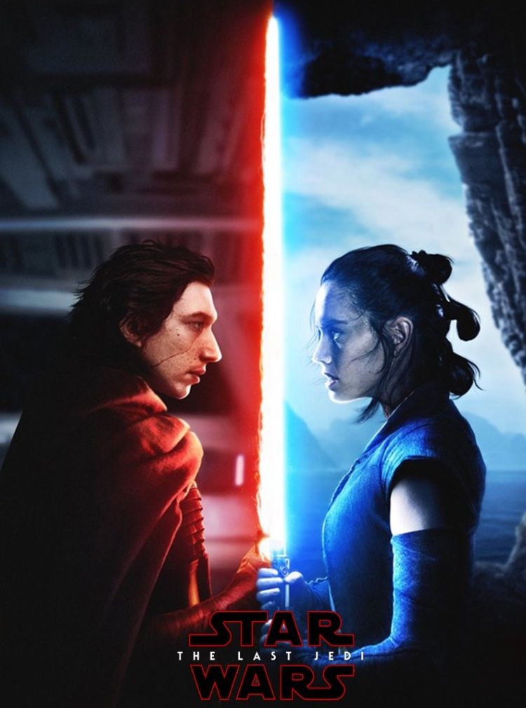 Kylo and Rey Movie Poster Star Wars The Last Jedi Luke