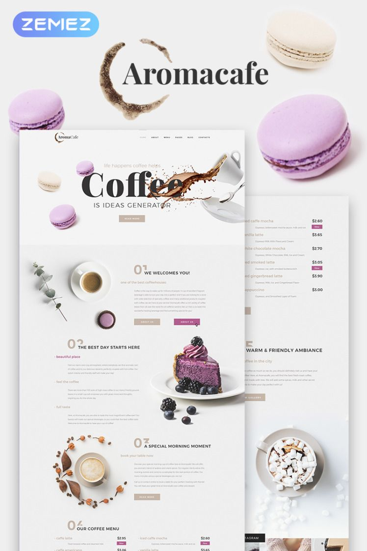 Aromacafe Coffee Shop Elementor WordPress Theme Cafe Templates Coffee Shop Templates