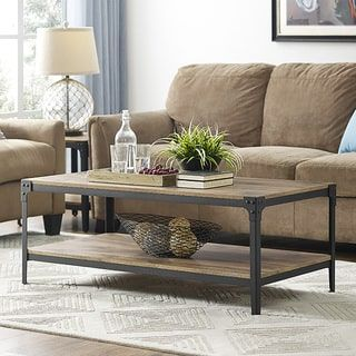 Shop For Rustic Angle Barnwood 48 Inch Iron Wood Coffee Table. Get Free  Shipping