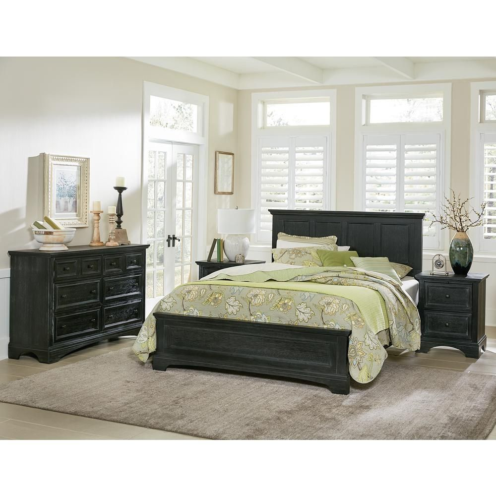 Osp Home Furnishings Farmhouse Basics Rustic Black Queen Bedroom