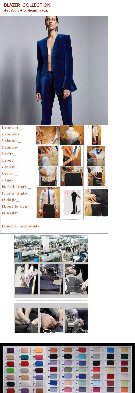 17fd41ac358f Royal Blue Velvet Jacket+Pants Formal Elegant Pants Suit Womens Business  Suits Slim Fit Female Office Uniform 2 Piece Set Custom