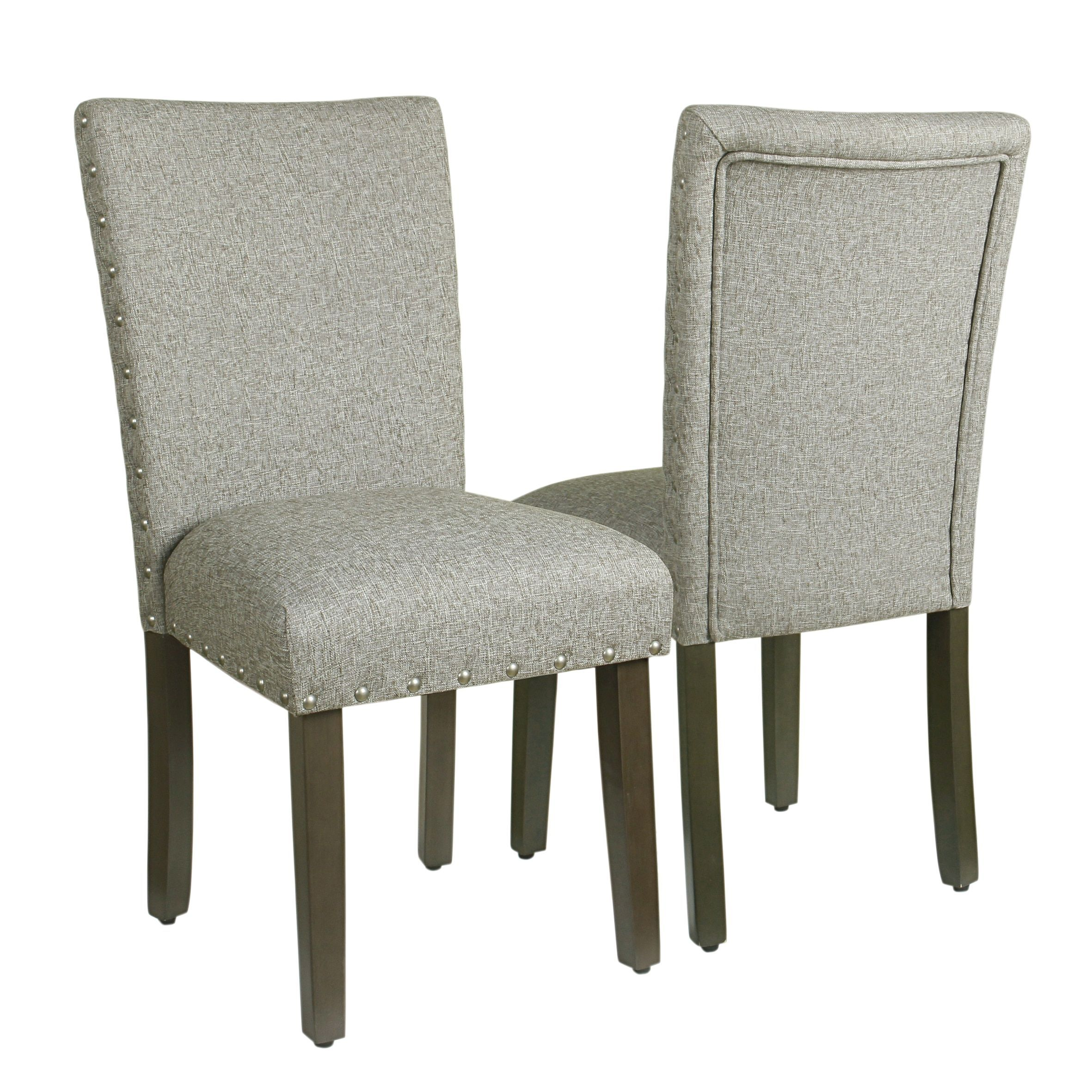 HomePop Classic Parsons Chair With Nailhead Trim   Sterling Grey (Set Of 2)  (Sterling Grey) (Fabric)