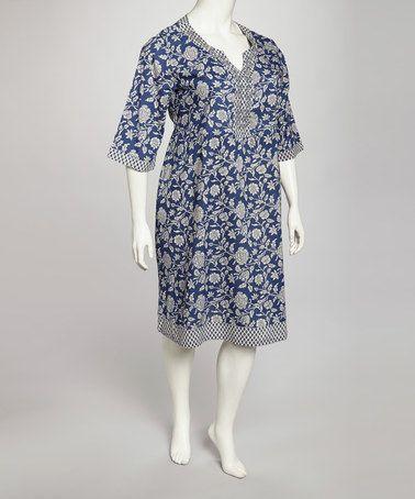 La Cera Blue Floral Plus Size Dress Plus Size Dresses Blue Floral