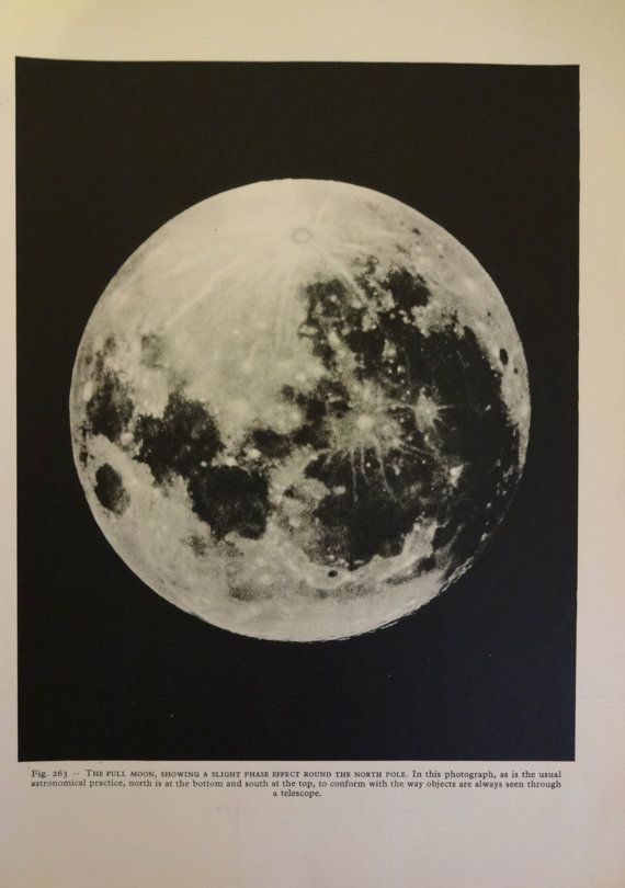 1950 S Full Moon Original Vintage Astronomy Space Print Ref263 Vintage Astronomy Prints Astronomy Space Print