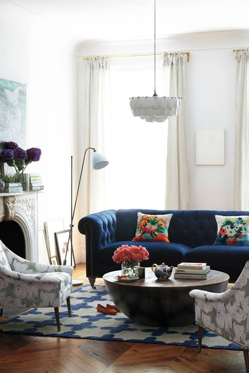 Interior Design Tips Blue Velvet Chesterfield Sofa Blue Sofas Living Room Blue Sofa Living Eclectic Living Room
