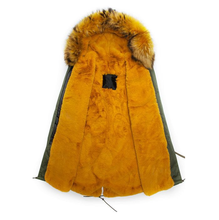 Real yellow furs new parka style fur hood coats men fashion noble ...