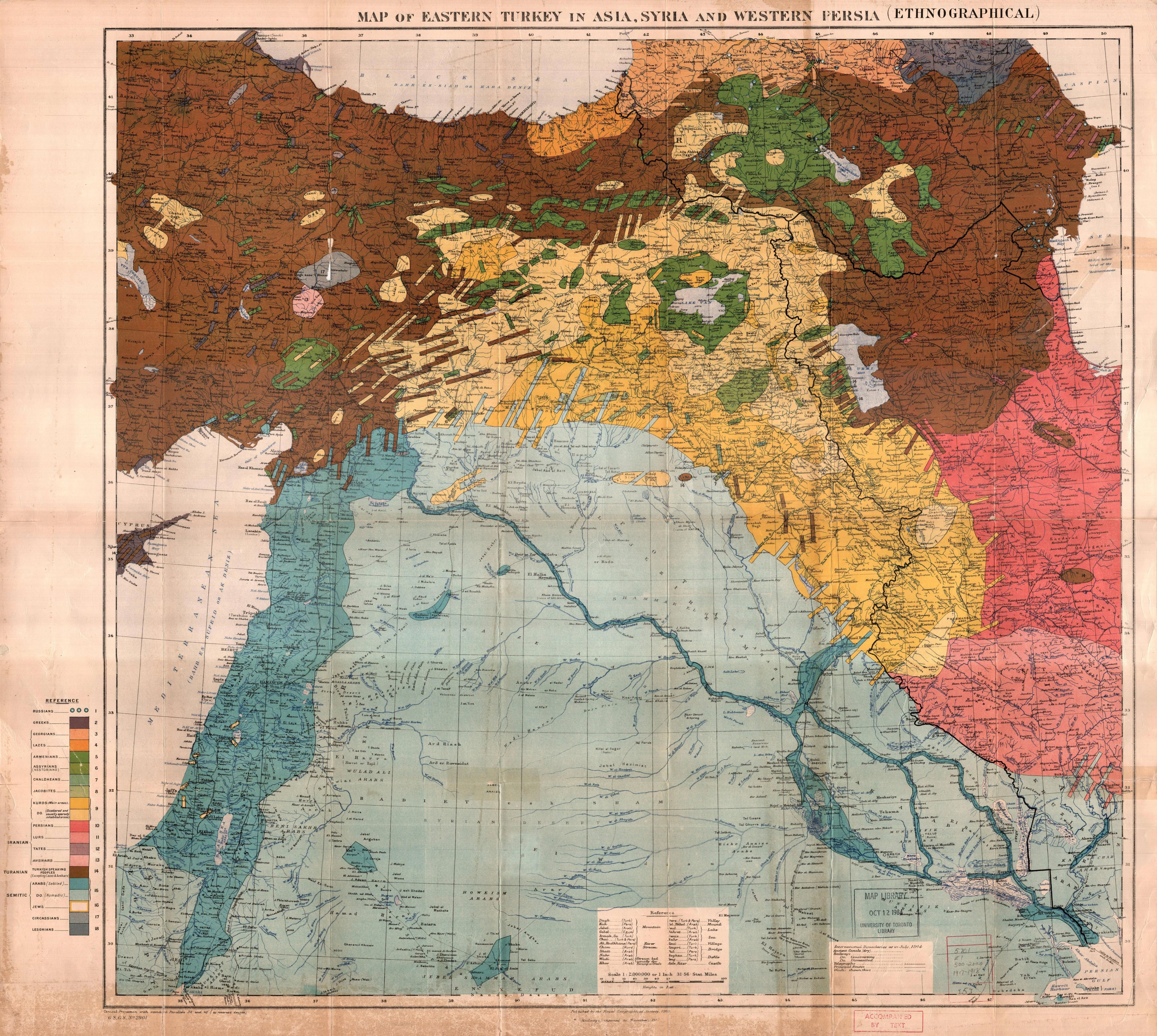 Ethnographic map of eastern Turkey in Asia, Syria and